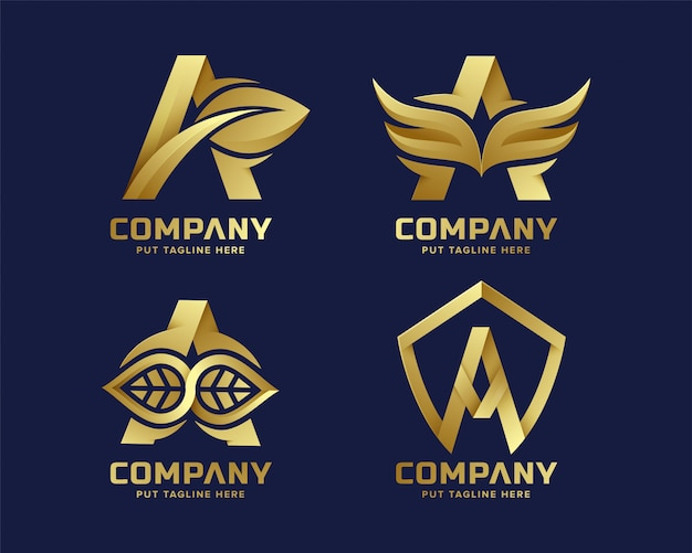 Premium luxury creative letter a logo for company