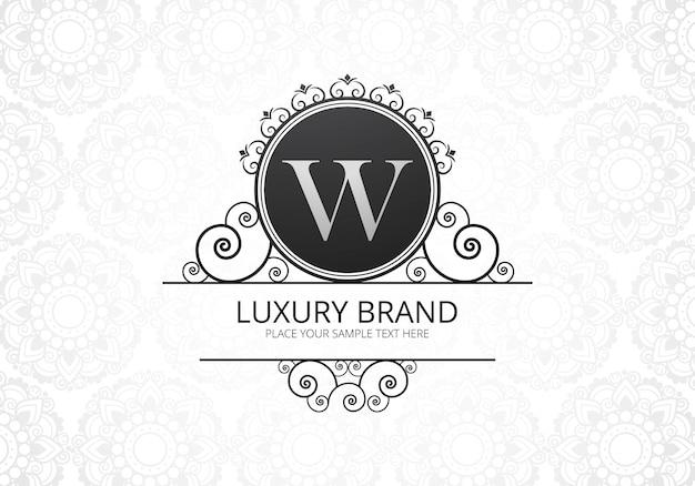 Элитная креативная буква w с логотипом