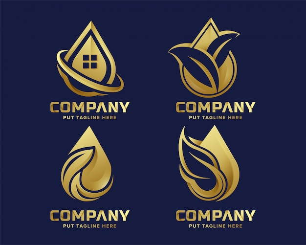 Premium luxury eco water drop leaf logo template