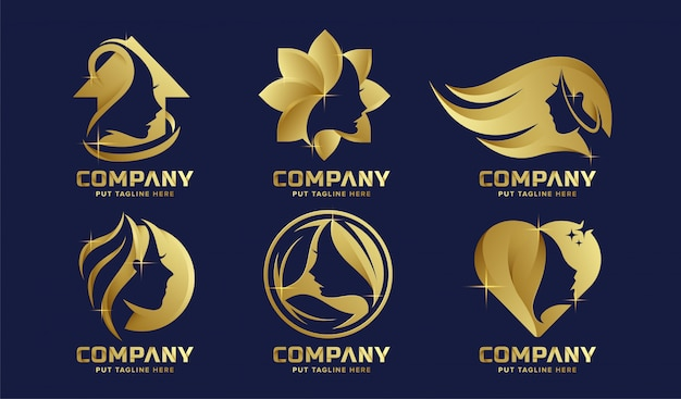 Premium luxury feminine logo collection for company