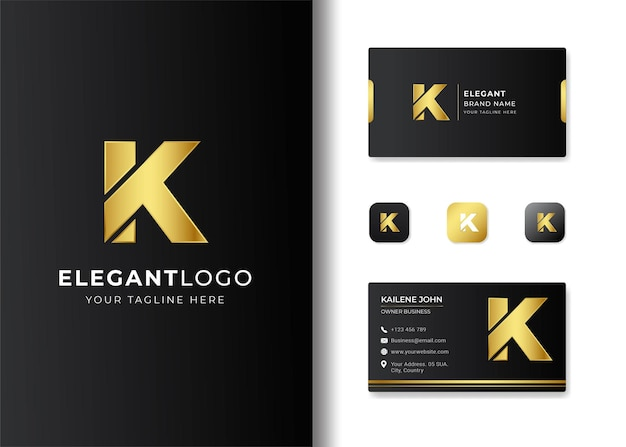 Premium luxury letter initial k logo and business card design