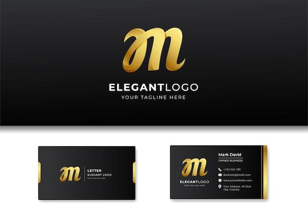 プレミアムラグジュアリーレターのイニシャルmロゴと名刺デザイン