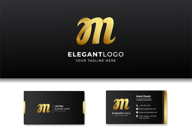 Premium luxury letter initial m logo and business card design