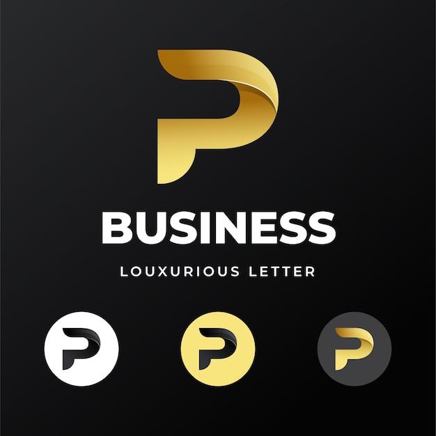 프리미엄 럭셔리 편지 이니셜 p 로고 템플릿 디자인