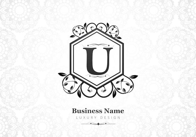 会社のプレミアム高級文字uロゴ