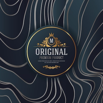 Premium luxury packaging design with heraldic emblem label
