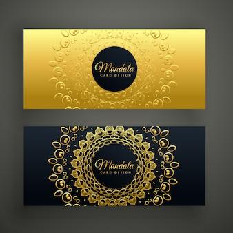 Премиум мандала золотой баннер дизайн