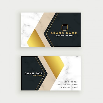 Premium marble business card in gold theme