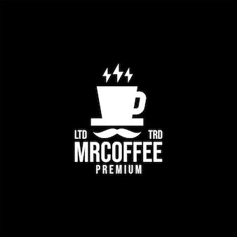 프리미엄 미스터 커피 벡터 로고 디자인