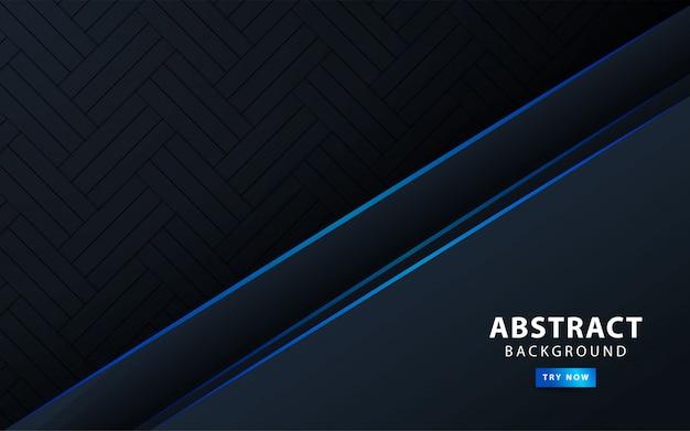 青い線とプレミアムモダンな暗い抽象的な背景バナー。図。