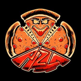 Премиум monster pizza векторная иллюстрация дизайн футболки