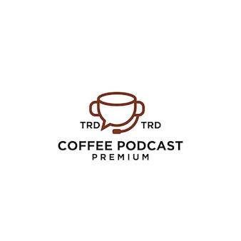 Премиум кружка подкаст кофе простой черный векторный дизайн логотипа