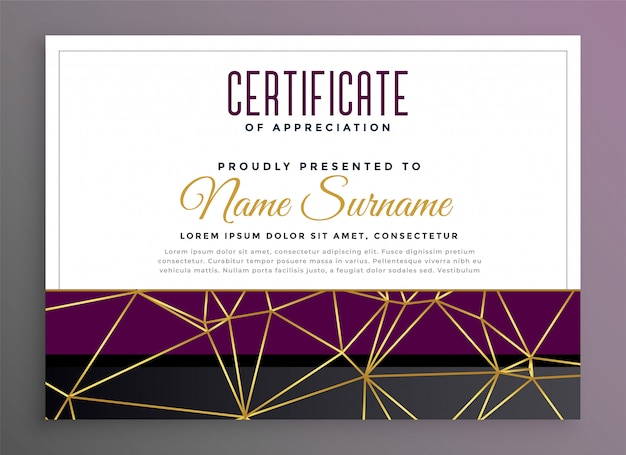 Premium multipurpose certificate with golden low poly lines