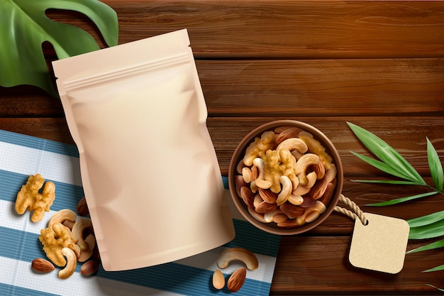3d 그림, 위쪽 보기 각도에서 나무 테이블에 프리미엄 견과류 광고