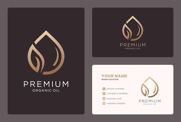 Premium organic oil for beauty care logo design in a golden color.