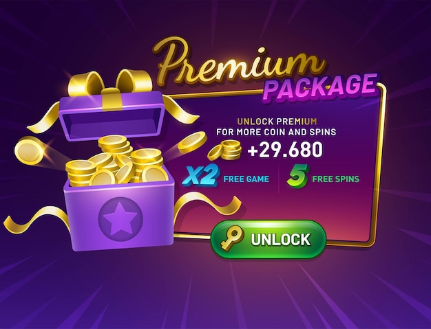 Premium package game screen with unlock button gift box opened