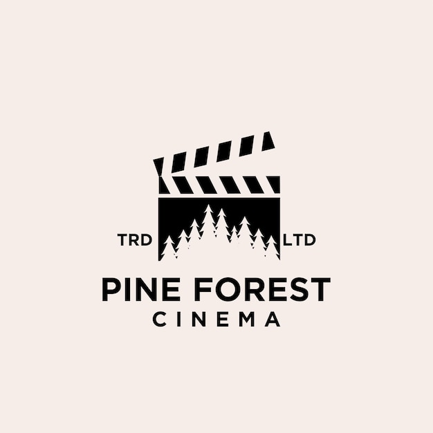 Premium pine tree forest cinema vector logo icon design