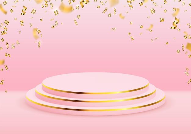 金色の紙吹雪が落ちるプレミアム製品の3d表彰台スタンド。受賞者ステージ。きらめくベクトルテンプレートと空の表示シーンのモックアップ