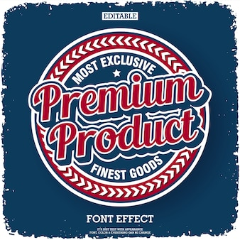 Premium product label with retro style