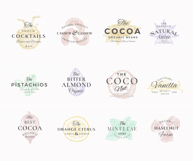 Premium qualituy nuts, fruits and spices elegant labels set. abstract  signs, symbols or logo templates. hand drawn food sketches with retro typography. vintage luxury emblems.