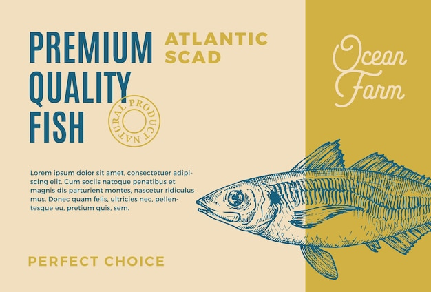 Premium quality atlantic scad abstract vector food packaging design or label modern typography and h...