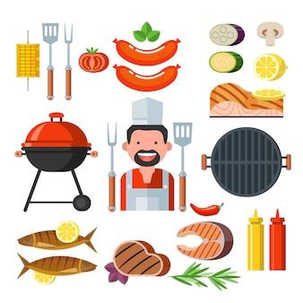 프리미엄 품질의 바베큐. 벡터 상징, 로고입니다. 돼지의 머리. 교차 요리사 포크와 삽입니다. 최상급 돼지고기.