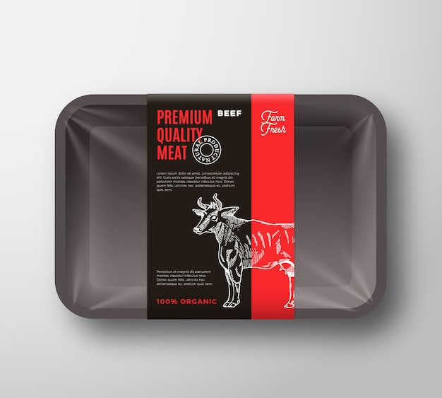 Premium quality beef meat packaging design layout with label stripe.