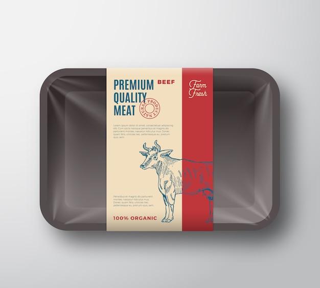 프리미엄 품질의 쇠고기 팩. 셀로판 커버와 함께 추상 벡터 고기 플라스틱 트레이 컨테이너.
