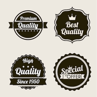 Premium quality over beige background vector illustration