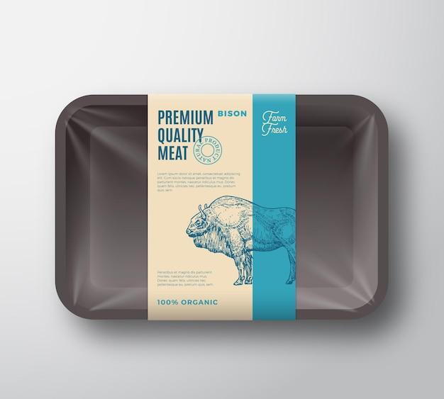 셀로판 덮개 패키지가 있는 프리미엄 품질 들소 팩 추상 벡터 고기 플라스틱 트레이 컨테이너...