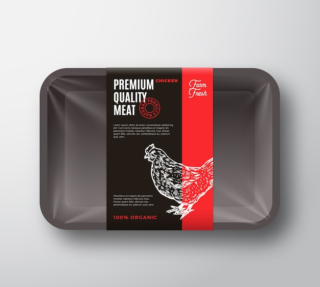 Premium quality chicken meat package and label stripe.