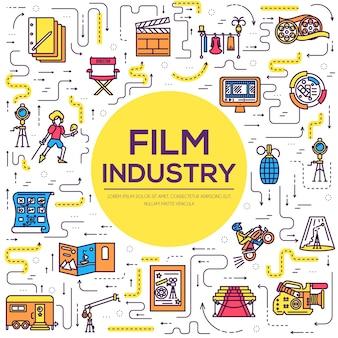 プレミアム品質の映画産業の細い線のデザインセット