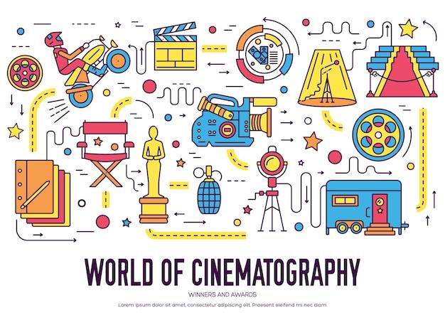 프리미엄 품질의 영화 산업 얇은 라인 디자인 모음