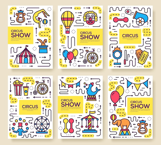 Premium quality circus outline icons infographic set