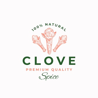 Premium quality clove abstract vector sign, symbol or logo template