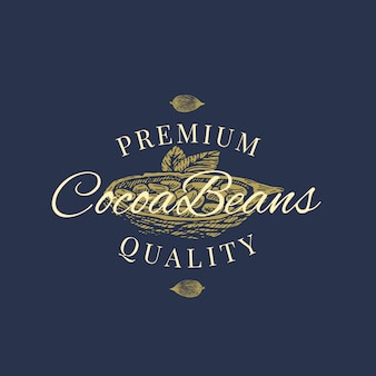 Premium quality cocoa beans abstract  sign, symbol or logo template. hand drawn cacao bean with premium vintage typography. stylish classy  emblem concept.