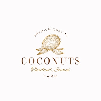 Premium quality coconuts abstract  sign, symbol or logo template.