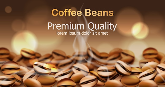 연기가 나는 프리미엄 품질의 커피 원두. 백그라운드에서 반짝이는 원. 텍스트를 놓습니다.