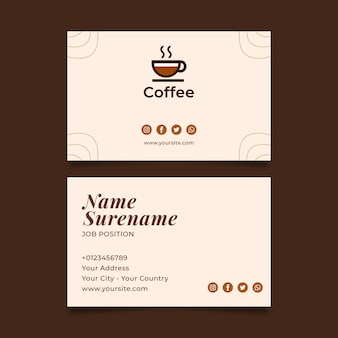 Premium quality coffee business card horizontal