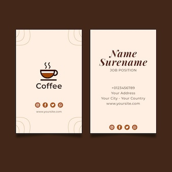 Premium quality coffee business card vertical