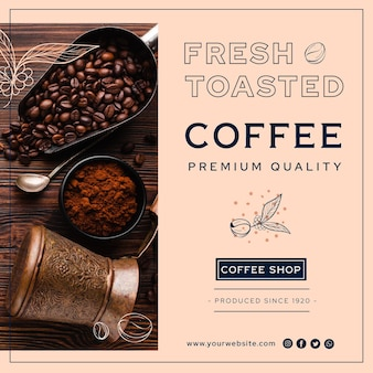 Premium quality coffee flyer square
