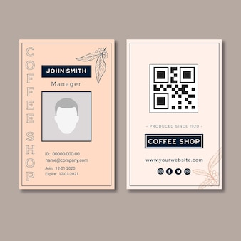 Premium quality coffee id card