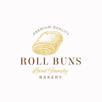 Шаблон логотипа кондитерских премиум качества. рука нарисованные булочка рулона и типография.