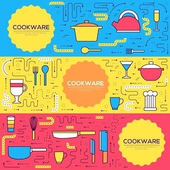 Premium quality cookware cards thin line set. kitchen table linear template of flyear, banners.