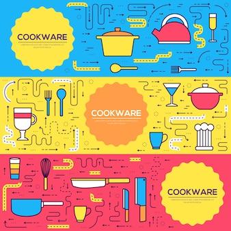 プレミアム品質の調理器具カードの細い線のセット。 flyear、バナーのキッチンテーブル線形テンプレート。