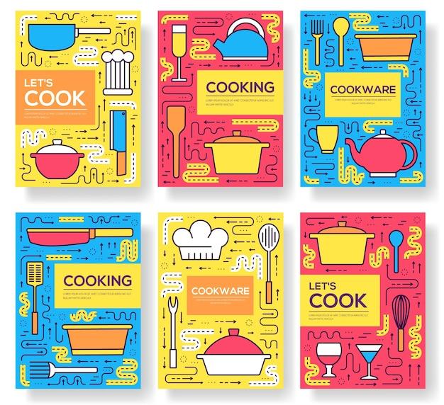 プレミアム品質の調理器具カードの細い線のセット。 flyear、本、バナーのキッチンテーブル線形テンプレート。