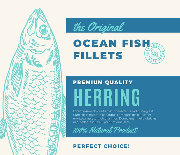 Premium quality fish fillets. abstract fish packaging design or label. modern typography and hand drawn herring silhouette background layout.