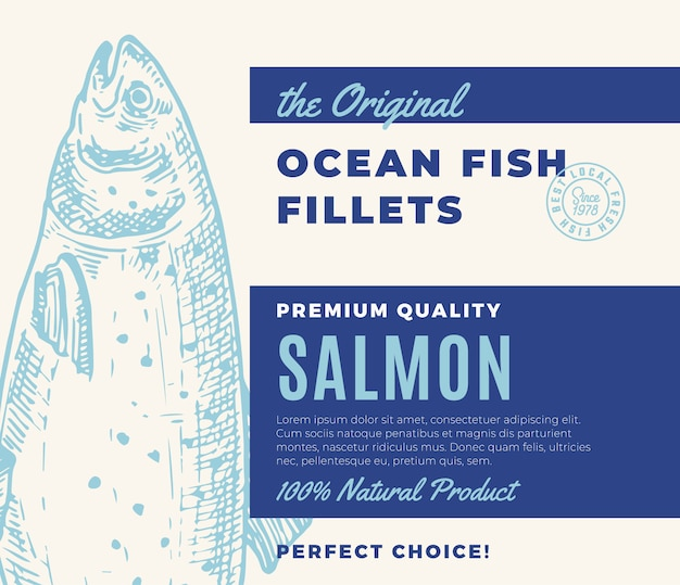 Premium quality fish fillets. abstract fish packaging design or label. modern typography and hand drawn salmon silhouette background layout