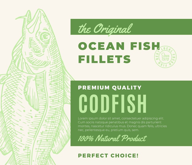 프리미엄 품질의 생선 필레. 초록 물고기 포장 디자인 또는 레이블. 현대 타이포그래피와 손으로 그린 대구 실루엣 배경 레이아웃