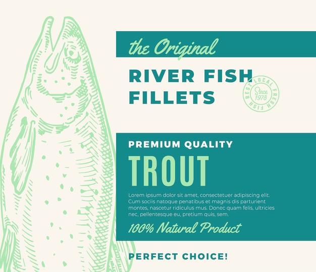 프리미엄 품질의 생선 필레. 초록 물고기 포장 디자인 또는 레이블. 현대 타이포그래피와 손으로 그린 송어 실루엣 배경 레이아웃
